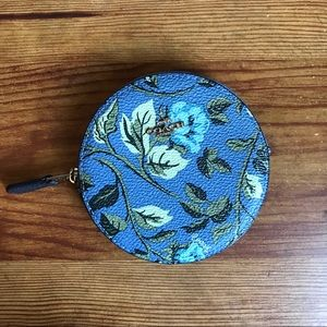 Coach Round Large Blue Floral Coin Purse